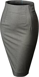 Womens Stretchy High Waisted Wear to Work Bodycon Pencil Midi Skirt