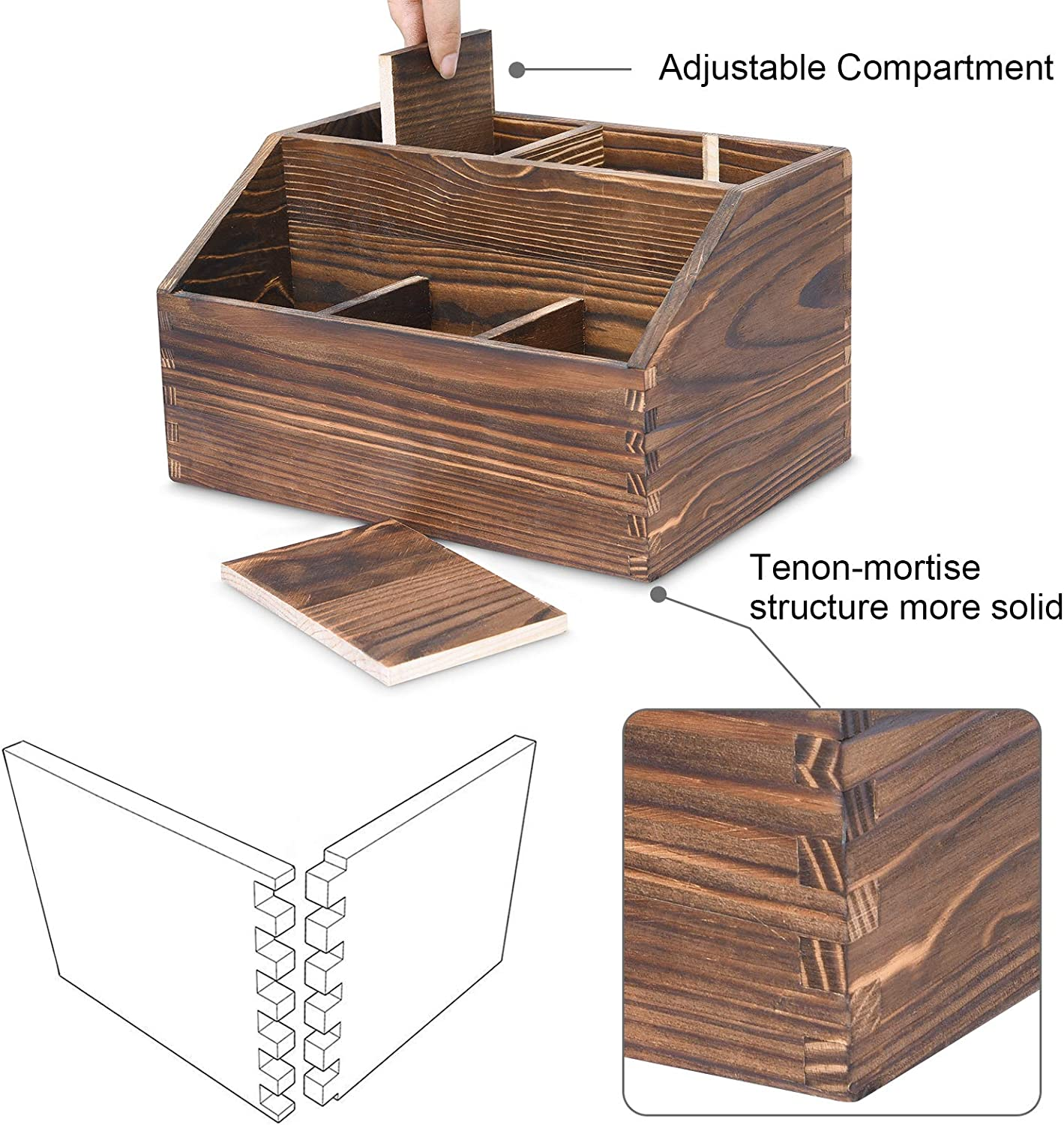 Markers Wood Desktop Office Organizer for Pen Desk Organizer Office Supplies Holder with 7 Compartments Colored Pencil