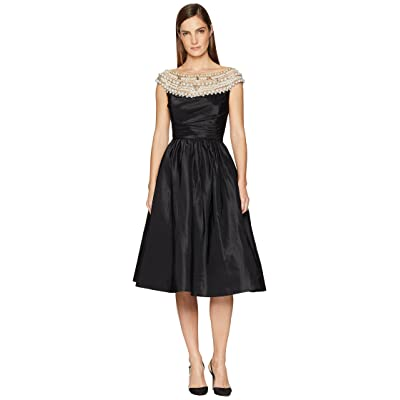 Marchesa Crystal and Pearl High Neck Cocktail Dress (Black) Women