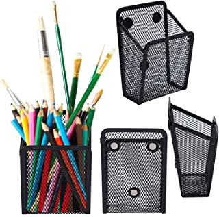 URATOT 4 Pack Magnetic Pencil Holder Mesh Pen Holder Black Wire Mesh Storage Baskets with Magnets for Whiteboard Hold Locker Accessories (4)
