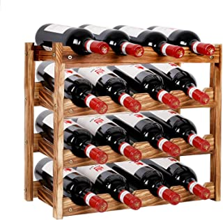 PENGKE Wine Rack,4 Tier 16 Bottle Capacity Storage Wood Wine Holder Freestanding Countertop Stand Display Shelves