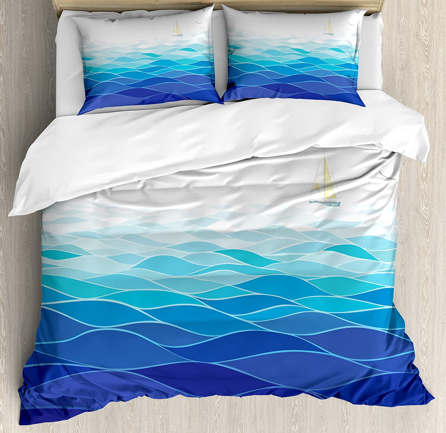 Ambesonne Aqua Duvet Cover Set Sailboat Time sale Free Shipping New Graphic Waves Ocean wit