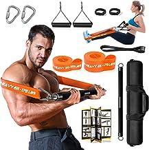 DASKING Fitnessapparaten voor thuis, fitnessband, weerstandsband, barset, met 2 weerstandsbanden, 58 cm, krachttrainingsst...