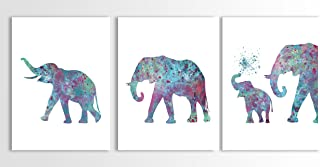 Watercolor Elephant, Baby Elephant, Contemporary Elephant Painting, Elephant Art, Set of Three Limited Edition Watercolor ...