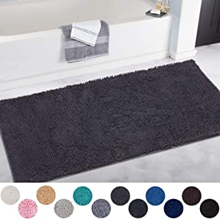 DEARTOWN Non-Slip Shaggy Bathroom Rug,Soft Microfibers Chenille Bath Mat with Water Absorbent, Machine Washable(Dark Grey,31x59 Inches)