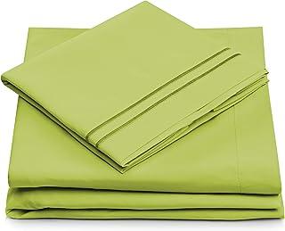 Split King Bed Sheets - Lime Green Luxury Sheet Set - Deep Pocket - Super Soft Hotel Bedding - Cool & Wrinkle Free - 2 Fit...