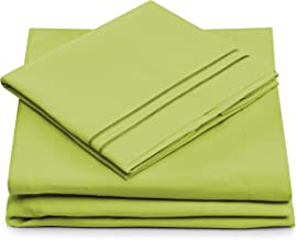 King Size Bed Sheets - Lime Green Luxury Sheet Set - Deep Pocket - Super Soft Hotel Bedding - Cool & Wrinkle Free - 1 Fitted, 1 Flat, 2 Pillow Cases - Light Green King Sheets - 4 Piece
