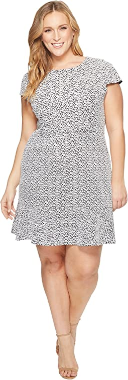 MICHAEL Michael Kors - Plus Size Jacquard Knit Short Sleeve Flounce Dress