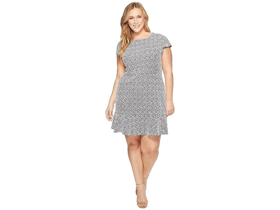 MICHAEL Michael Kors Plus Size Jacquard Knit Short Sleeve Flounce Dress (Black/White) Women