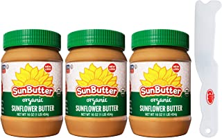SunButter Organic Sunflower Butter 16 Ounce (Pack of 3) with By The Cup Spreader