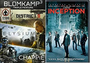 World of dreams Leonardo DiCaprio Inception + Blomkamp 3 DVD Elysium / District 9 / Chappie 4 movie sci-fi mayhem Action 2-Pack