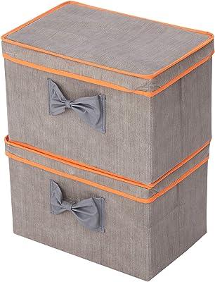 Elegant Home Fashions 2 Piece Set Storage Box, Grey/Orange
