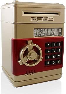 Assortmart Safe Coin Bank Toy - Electronic Cash Money Piggy Box ATM Locker (Gold-Red)