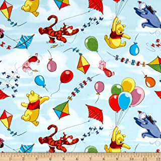 Springs Creative Products Blue Disney Pooh Balloon Friends Fabric by The Yard