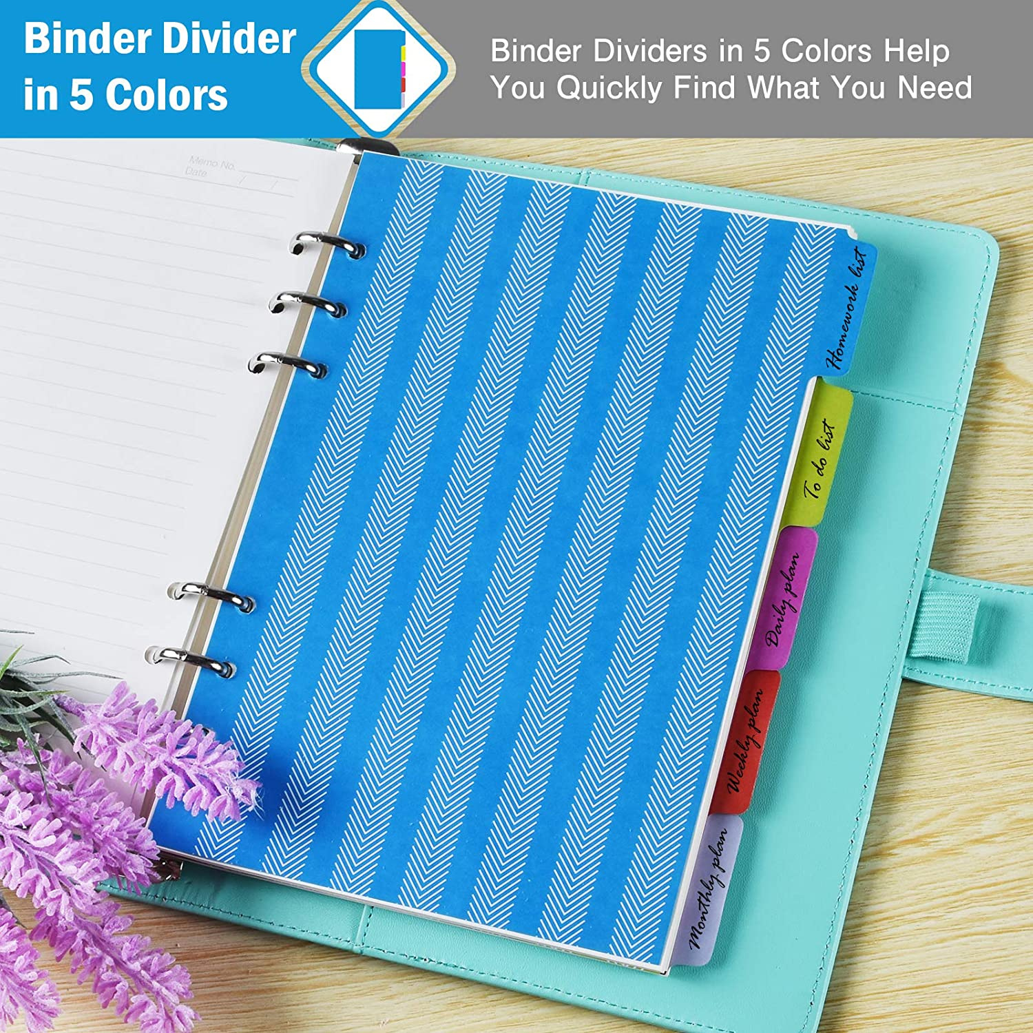 A6 Refill Paper 160 Pieces Index Tabs with Ruler 3 Pack 6 Ring Planner Binder refillable 5pcs Binder Dividers Personal Planner Inserts for Journal Notebook 3pcs Binder Pockets