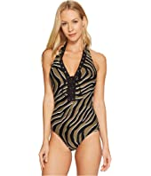 MICHAEL Michael Kors - Quincy Zebra Halter One-Piece