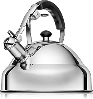 Vita Saggia Whistling Tea Kettle for Stove Top – Capsule Bottom Stainless Steel Water Boiler Kettle with Stay-Cool Ergonomic Handle Constructed for Faster Boiling and Heat Retention (12 Cup Capacity)