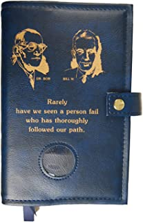 Bill & Bob Double Alcoholics Anonymous AA Big Book & 12 Steps & 12 Traditions Book Cover Medallion Holder Blue