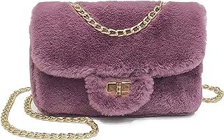 cool nik Classical Soft Envelope Faux Fur Bag Clutch Bag Crossbody Purse with Chain Strap B Purple