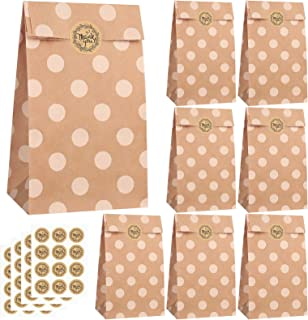 Elcoho 36 Pieces Mini Candy Kraft Paper Bags 3.5 x 2.4 x 7.1 Inches White Dot Design with 48 Stickers Gifts Desserts Paper...