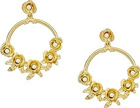 Kenneth Jay Lane Women's Satin Gold w/Flowers/White Pearl Center Hoop Pierced Earrings