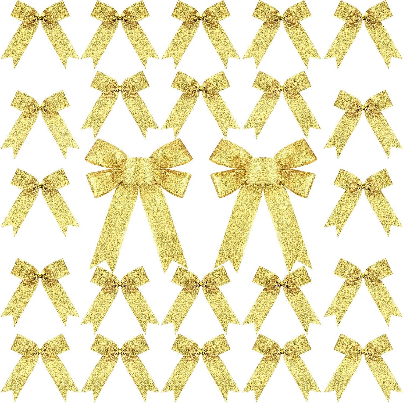 Chuangdi 36 Pi/èces Set de Noeud de No/ël /à Paillettes avec Liens Torsad/és Dor/és Noeud D/écoration pour D/écoration de F/ête Arbre de No/ël Or