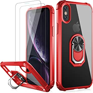 LUMARKE iPhone Xs Max Case with Tempered Glass Sreen Protector,Pass 16ft Drop Test Military Grade Clear Cover with Magnetic Kickstand Car Mount Holder,Protective Phone Case for iPhone Xs Max Red