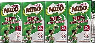 MILO UHT 50% Less Sugar Chocolate Malted Milk 125ml, (Pack of 4)