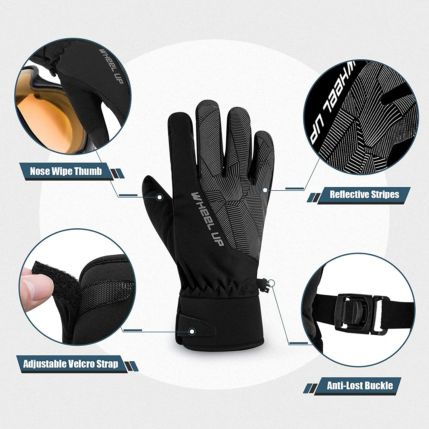 Hikenture Winter Bike Gloves Windproof Warm Cycling Gloves for Men and Women Anti-Slip Cold Weather MTB Gloves for Cycling Climbing Thermal Waterproof Ski Gloves Snow Gloves Skiing Hiking
