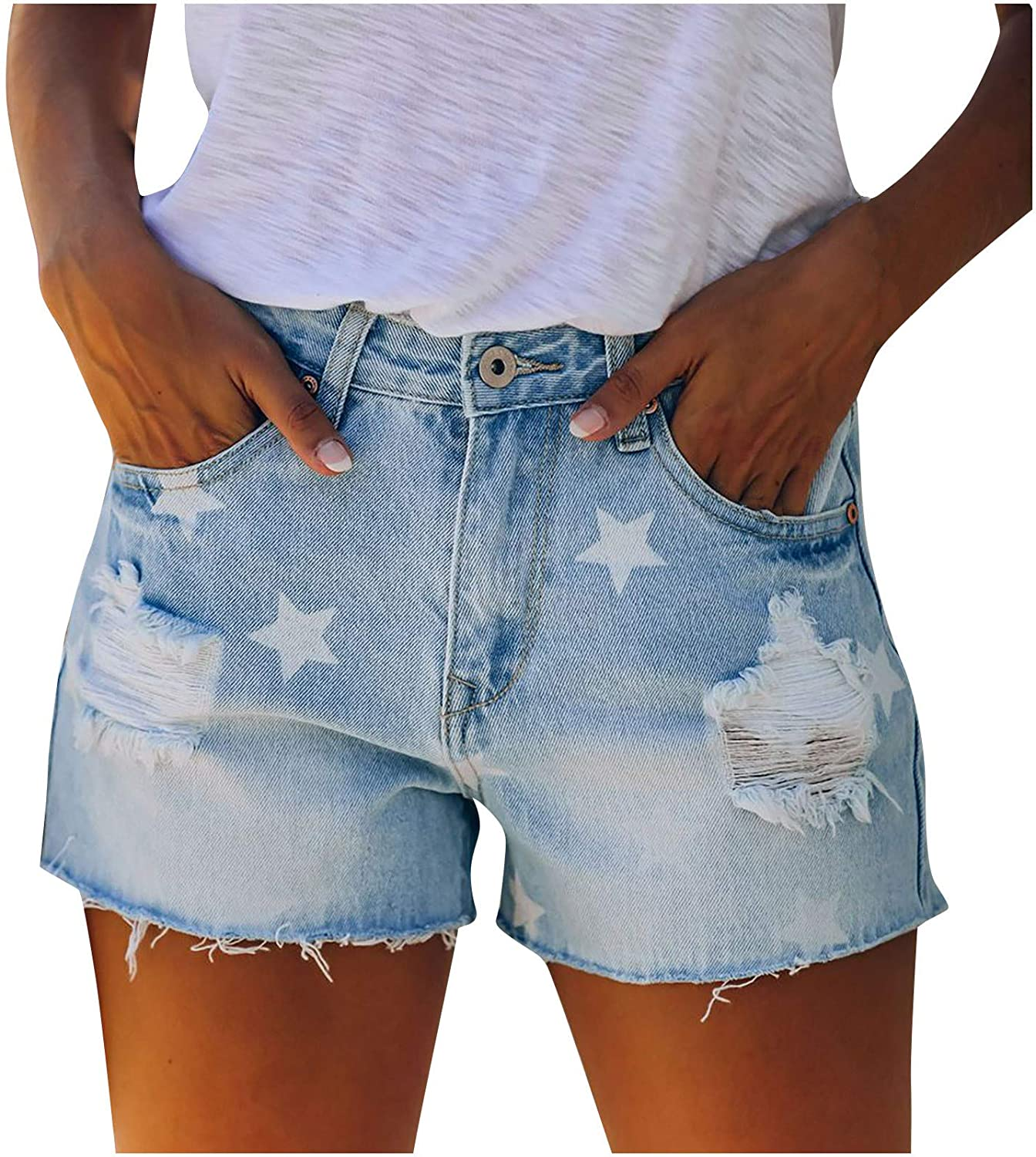 HUOJING Ripped Short Jeans for Women Solid Color Stretch Denim Shorts Buttons Pockets Summer Casual Hot Pants