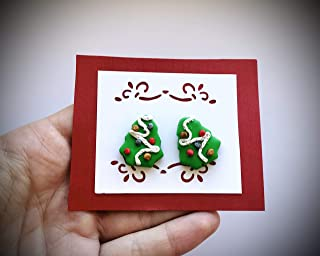 Christmas Stud Earrings Made From Polymer clay/Christmas Tree Earrings For Women/Cute Christmas Earrings For Girls