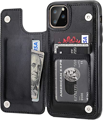 iPhone 11 Pro Max Wallet Case with Card Holder,OT ONETOP PU Leather Kickstand Card Slots Case,Double Magnetic Clasp a...