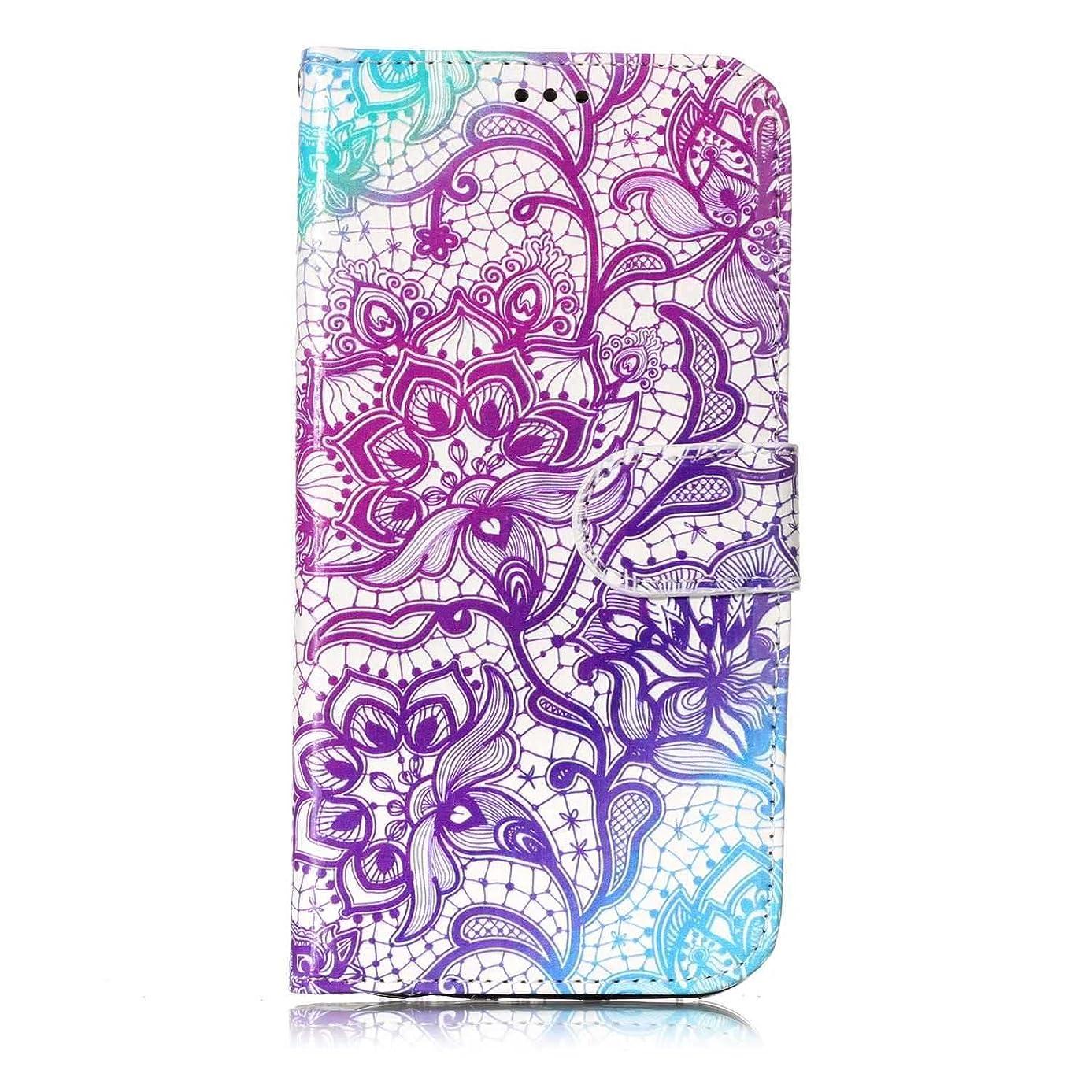 どきどき死ぬブラインドGalaxy S7 ケース, OMATENTI 人気度 花柄 PU レザー 財布型 カバー ケース, カード収納 おしゃれ 高級感 手帳型ケース 衝撃吸収 落下防止 防塵 マグネット開閉式 プロテクター Galaxy S7 対応, 紫の
