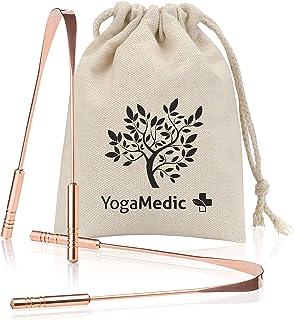 YogaMedic Limpiador de Lengua de cobre [2x] - 100% cobre, naturalmente Anti-Microbiano para combatir el mal aliento - Raspador de lengua - tongue scraper
