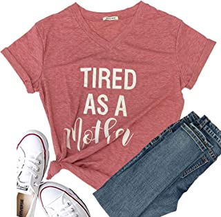 Tired as a Mother Shirt Womens Short Sleeve Graphic Tees Halloween Funny T Shirts Casual Cute Summer Tops
