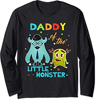Daddy Of The Little Monster Birthday Shirts Long Sleeve T-Shirt