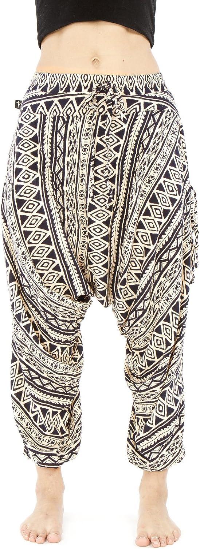 Buddha Pants Harem Cotton Womens Drop Credch Triangle Tribal Pattern