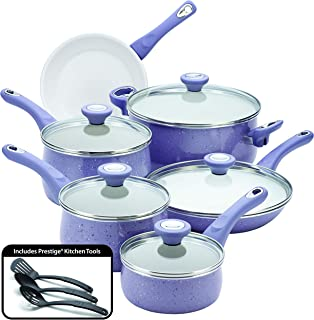 Farberware 16013 New Traditions Nonstick Cookware Pots and Pans Set, 14-Piece, Lavender Speckle