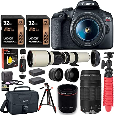 $599 Get Canon EOS Rebel T7 DSLR Camera Double Zoom Kit (Successor to EOS Rebel T6), EF 75-300mm f/4-5.6, 500mm Preset f/8 Telephoto Lens (White), 0.43x Wide Angle, 2.2X Pro Lenses, Tripod, Lexar 64GB Bundle