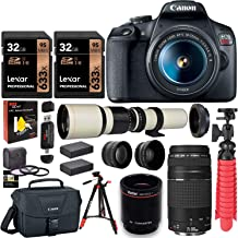 Canon EOS Rebel T7 DSLR Camera Double Zoom Kit (Successor to EOS Rebel T6), EF 75-300mm f/4-5.6, 500mm Preset f/8 Telephoto Lens (White), 0.43x Wide Angle, 2.2X Pro Lenses, Tripod, Lexar 64GB Bundle
