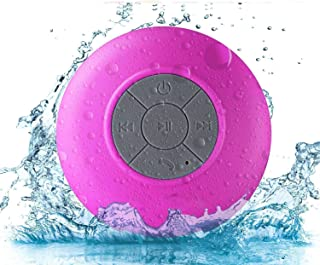 Pokanic - Waterproof Bluetooth Shower Speaker,Water Resistant Handsfree Portable Wireless Shower Speaker,Build-in Microphone, Solid Suction Cup, 6 hrs Play Time - Pink
