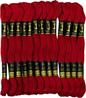 IBA Indianbeautifulart Cross Stitch Hand Embroidery Thread Stranded Cotton Craft Sewing Floss 25 Skeins-Ruby Red