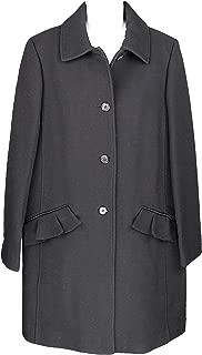 J Crew Womens Topcoat w Ruffle Pocket Italian Double Cloth Wool Coat 10 J5463 Black