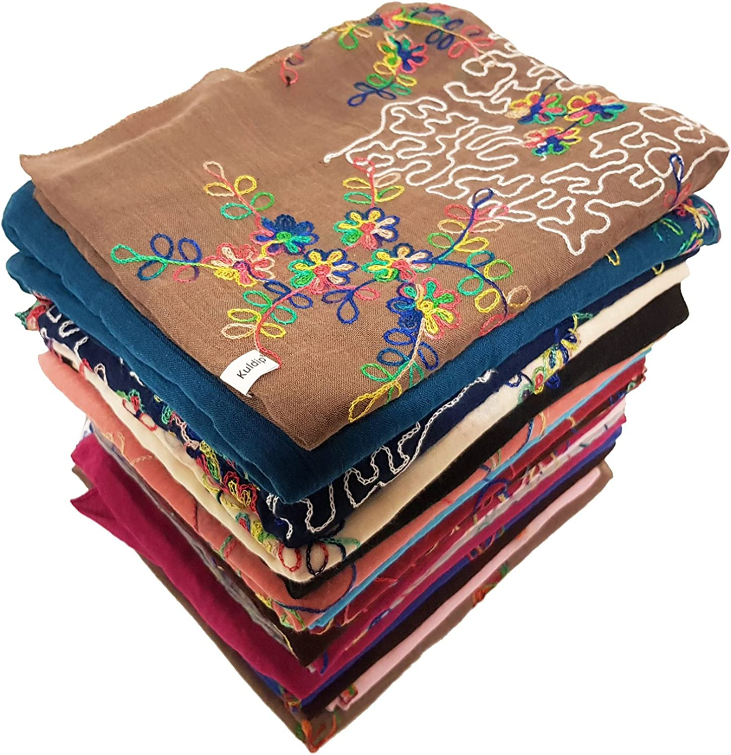 Kuldip Hand Embroidery Pashmina Scarf Shawl Wrap. Assorted. (Pack of 20)