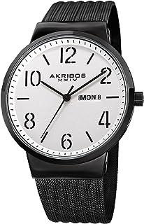 Akribos XXIV Designer Men's Watch – Slim Stainless Steel Mesh Round Fashion Bracelet Wristwatch with Date Window– Quartz Movement, AK996