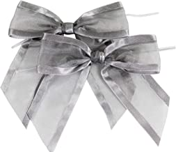 Silver Pre-Tied Organza Bows with Twist Ties. Pack of 12 Satin-Edged Fabric Bows Made of 1-1/2
