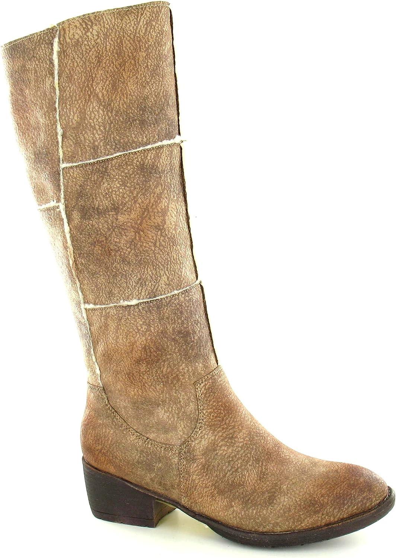 Spot On Womens Ladies Mid Heel Distressed Boots