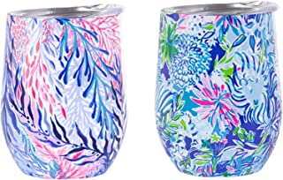 Lilly Pulitzer Stainless Steel Wine Glass with Lid Set of 2, Holds 12 Ounces Each, Kaleidoscope Coral & Lion Around
