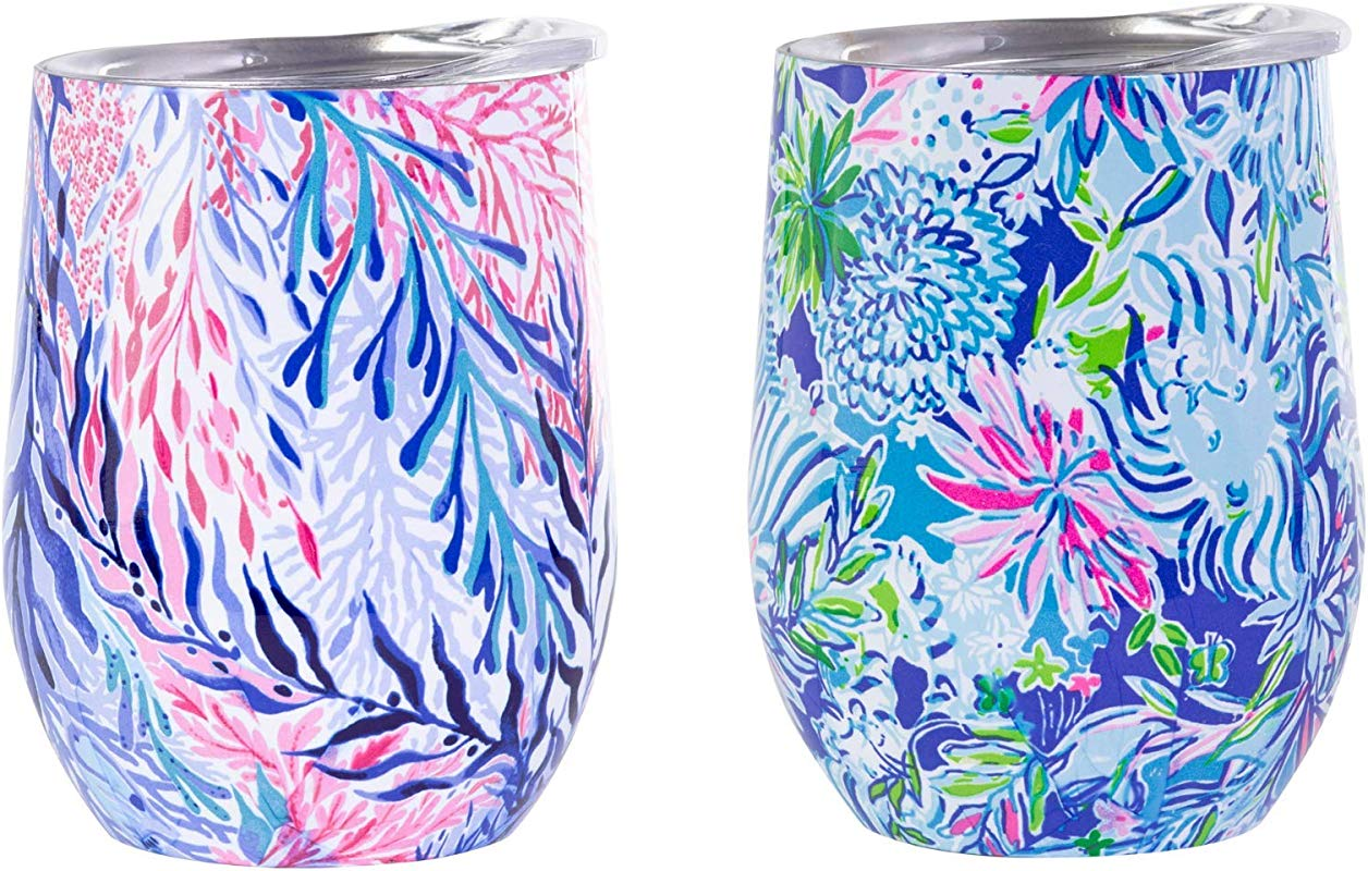 Lilly Pulitzer Stainless Steel Wine Glass With Lid Set Of 2 Holds 12 Ounces Each Kaleidoscope Coral Lion Around