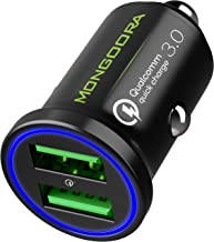 2019 Car Charger by MONGOORA - Qualcomm Quick Charge 3.0 Dual USB 6A/36W Fast Car Charger Adapter - Two Ports QC 3.0 3A - Compatible with Any iPhone - Galaxy S10 S9 S8 S7 S6 Note LG Nexus Pixel etc.